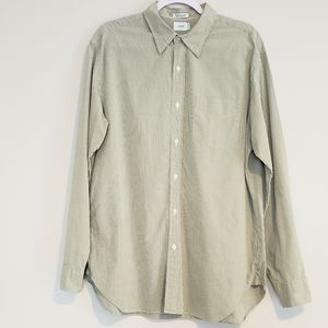 J CREW GREEN MINI GINGHAM LONG SLEEVE SHIRT SZ L
